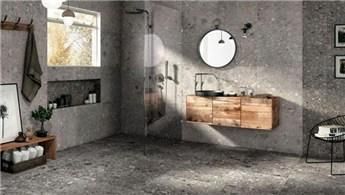Grinin tonlarında banyo tasarım modelleri