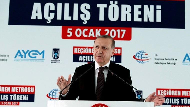 Cumhurbaşkanı Erdoğan, Keçiören metrosunda ilk seferi yaptı