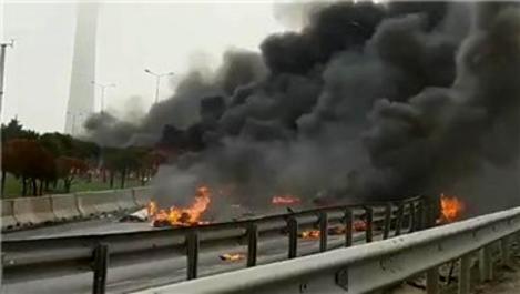 İstanbul Büyükçekmece'de helikopter düştü!