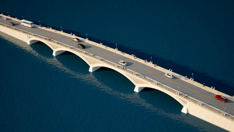 Cunda Köprüsü'nün büyük bir bölümü tamamlandı