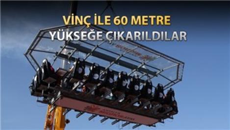 Antalya'da 60 metre yükseklikte yemek deneyimi!