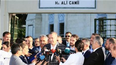 Cumhurbaşkanı Erdoğan, bayram namazını Hz. Ali Camisi'nde kıldı
