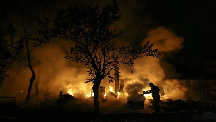 Ankara Pursaklar'da hobi bahçesinde yangın çıktı!