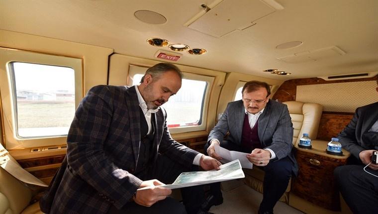 Bursa'daki yatırımlara helikopterli inceleme!