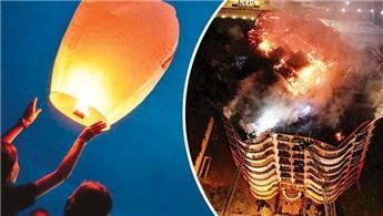 9 katlı binanın çatısını dilek balonu yakmış!