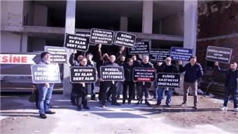 Hak sahiplerinden inşaat firmasına protesto
