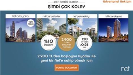 2.900 TL'den başlayan taksitlerle şimdi Nef sahibi olun!