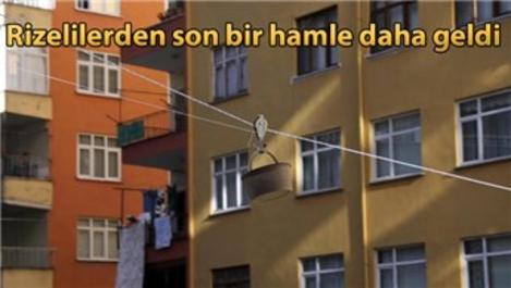 Üşengeç Rizeli, evinin balkonuna ilkel teleferik kurdu