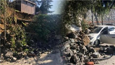 Beykoz'da istinat duvarı çöktü!