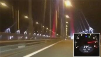 Yavuz Sultan Selim Köprüsü'nde 344 km hız yaptı, kameraya çekti!