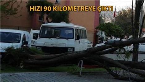 İzmir'deki şiddetli fırtınada binaların çatıları uçtu!