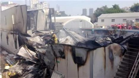 Alibeyköy'de metro inşaatında yangın çıktı