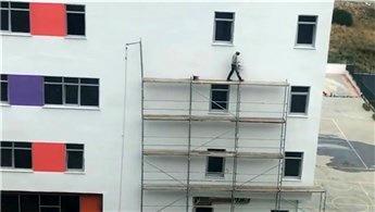 Güvenlik önlemi almayan inşaat işçisi hayrete düşürdü