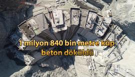 Yusufeli Barajı'nda gövde yüksekliği 139 metreye ulaştı