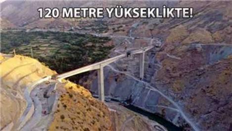 Türkiye'nin en yükseği Botan Köprüsü'nde sona gelindi