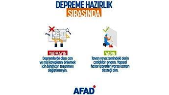 """AFAD uyarıyor: """"Deprem için önlemlerinizi alın"""""""