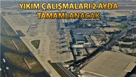 Atatürk Havalimanı'nda millet bahçesi için yıkım başladı