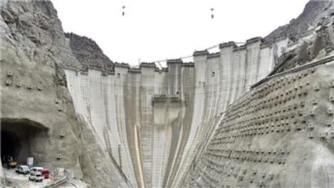 Yusufeli Barajı'nda yükseklik 190 metreye ulaştı