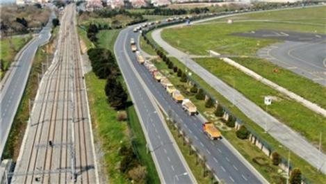 Atatürk Havalimanı'ndaki inşaat nedeniyle E5'te kamyon yoğunluğu