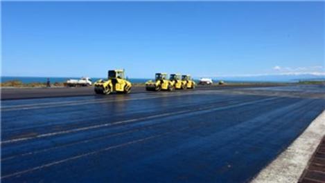 Trabzon Havalimanı'nda pist yenileme çalışmaları sürüyor