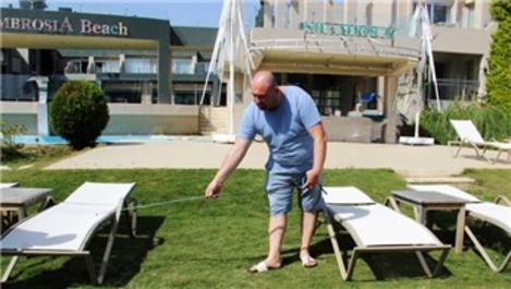 Bodrum'daki otellerde sosyal mesafe ölçümleri yapılıyor