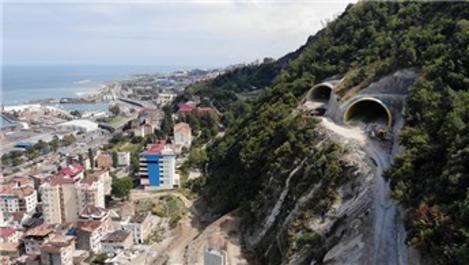 Trabzon'daki Boztepe Tüneli'nin inşaatı hızla devam ediyor