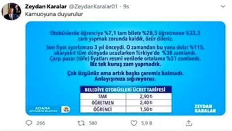 Adana'da toplu ulaşım ücretlerine zam yapıldı
