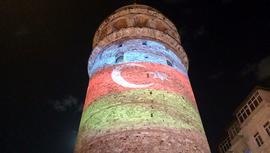 Galata Kulesi'nden Azerbaycan'a destek