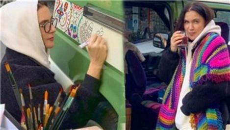 Şevval Sam karavanını kendi elleriyle boyadı!