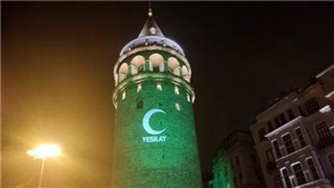Galata Kulesi ile FSM ve YSS köprüleri yeşil ışıkla aydınlatıldı