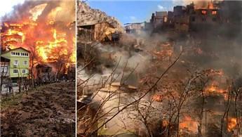 Yusufeli'de yangının izleri siliniyor