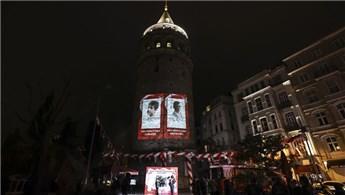 Galata Kulesi'ne çocukların fotoğrafları yansıtıldı