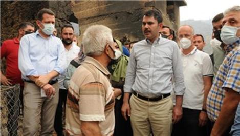 Bakan Kurum, Alanya'da yangın bölgesini ziyaret etti