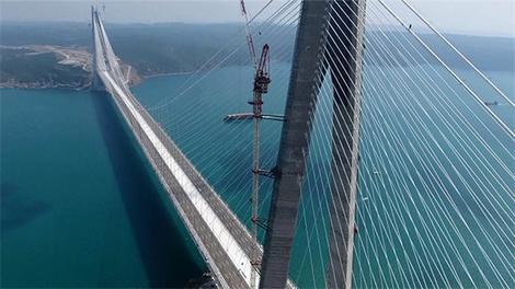 Yavuz Sultan Selim Köprüsü'nün son hali havadan görüntülendi