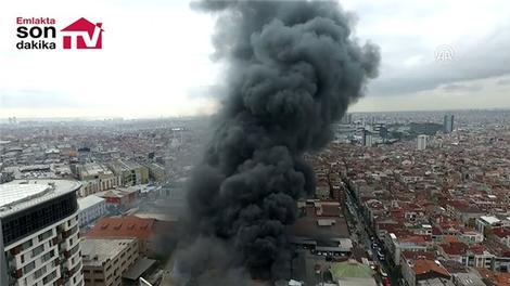 Bayrampaşa'daki yangın drone ile görüntülendi!