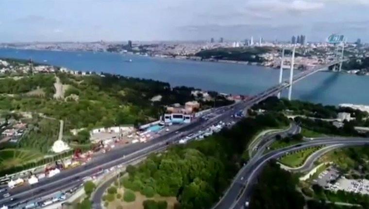 15 Temmuz Şehitler Köprüsü'nde son hazırlıklar havadan görüntülendi