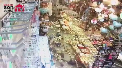 Deprem anı güvenlik kamerasında görüntülendi