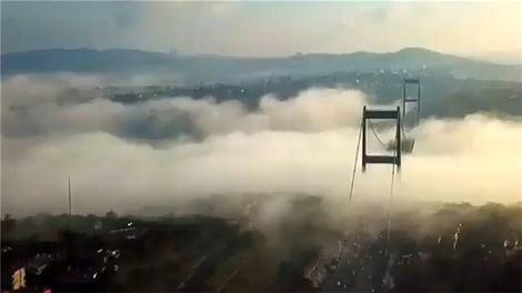 İstanbul Boğazı'nı kaplayan sis havadan görüntülendi!