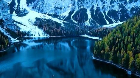İtalya Braies Gölü'nden muhteşem kış çekimi!