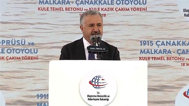 Arslan, 1915 Çanakkale Köprüsü Kule Kazık Çakım Töreni'nde konuştu