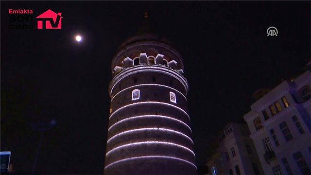 Galata Kulesi, video mappingle renklendirildi