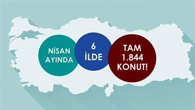 TOKİ Nisan ayında 1.844 konut üretti