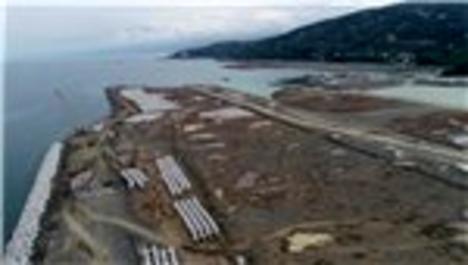 Rize-Artvin Havalimanı şantiyesi havadan görüntülendi