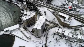 Ordu'daki gökdelenlerin yıkımı havadan görüntülendi