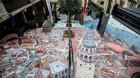 Beyoğlu'nun merdivenleri üç boyutlu boyandı