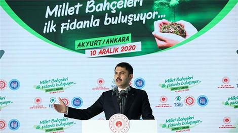 """""""81 ilimizde 81 milyon metrekare millet bahçesi projemiz hızla devam ediyor"""""""