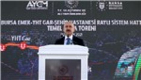 Bakan Karaismailoğlu, Bursa'da metro hattı temel atma töreninde konuştu